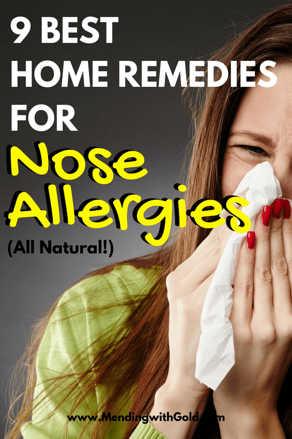 Nose allergy home remedies: my runny nose, itchy eyes, sore throat or the sinus infection don't leave me good for ANYTHING. My face is tired before I begin my day!! I tried lots of seasonal nasal allergy relief tips. These simple & natural ideas are the best ones that 'really' helped loosen the nasal congestion & sinus pressure!! Don't try any such as essential oils etc. for kids without expert advice. #hayfever, #allergies #alternativemedicine #homeremedies