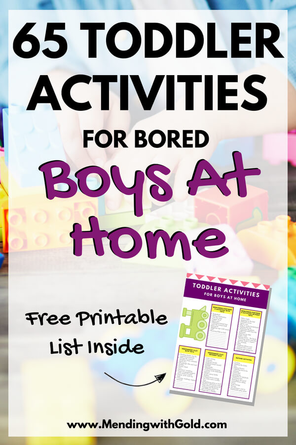 Activities for kids: Toddler activities for boys at home who are bored and haven't started preschool yet. #activitiesforkids