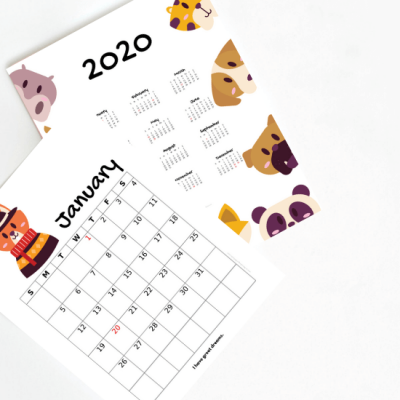 2020 kids calendar printable featured image