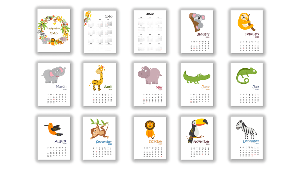 2020 jungle animals calendar all pages