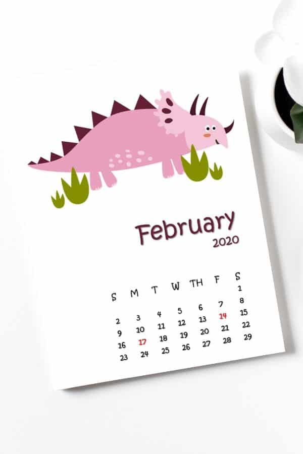 February calendar printables cute dinos for kids