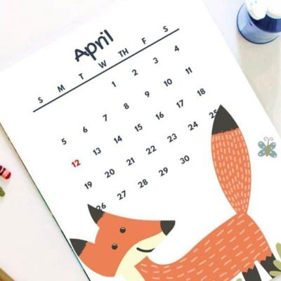 april calendars for kids 2020