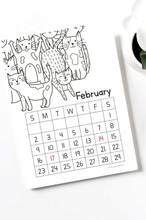 coloring portrait february calendar printables for kids 2020