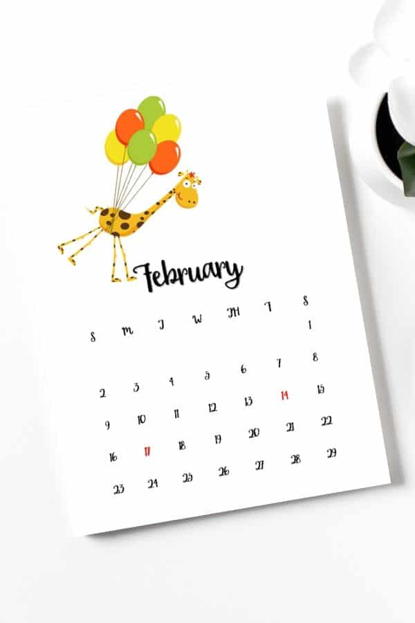 cute and simple february 2020 giraffe themed calendar