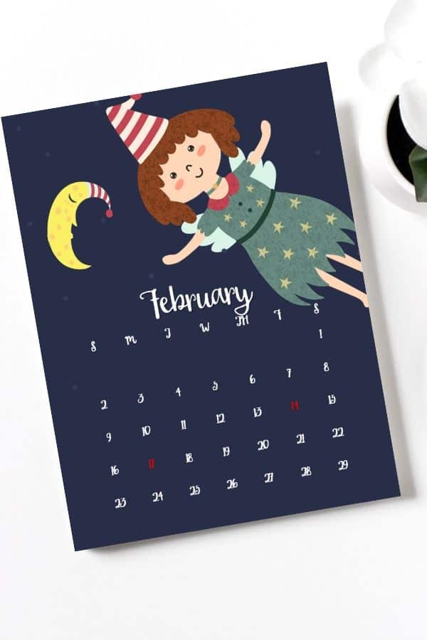 cute fairies nursery february calendar for small children's room