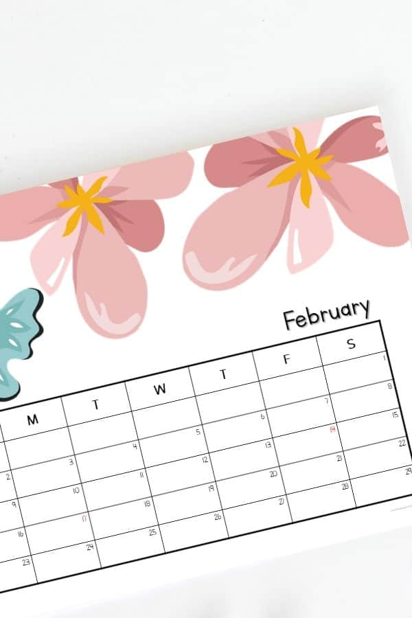 cute floral design february 2020 horizontal calendar