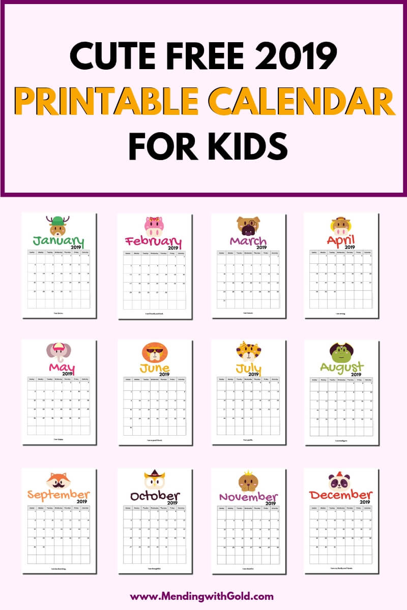 Free 2019 calendar printables for kids + organization ideas inside! Each month has a cute art illustration + quotes for inspiration. This year, keep these monthly calendar templates on the desk, in a planner, on the bulletin board or hang on the wall & use every day! Perfect for teaching your preschool kids creative ways to use it for organizing their daily activities: any event like a birthday, school tasks or family meetings etc. Vertical/portrait layout. Design is simple even with pictures.