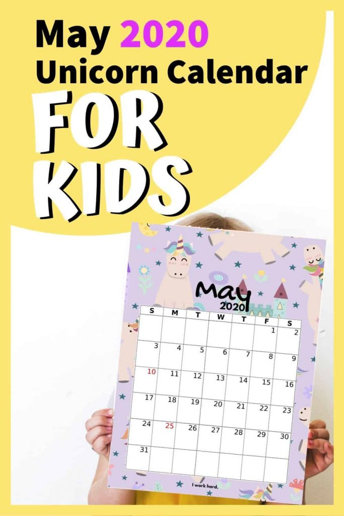 cute may 2020 calendar printable for kids (unicorn)
