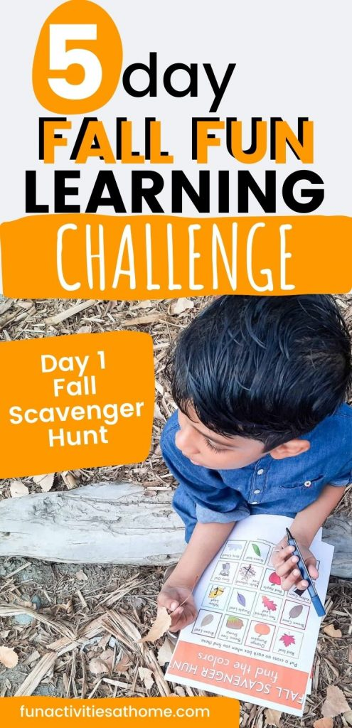 Fall scavenger hunt for kids so they learn about autumn as they play. Perfect outdoor activity for your toddlers, preschooler, and kindergarten kids to learn colors. + free download fall scavenger hunt printable. Autumn scavenger hunt