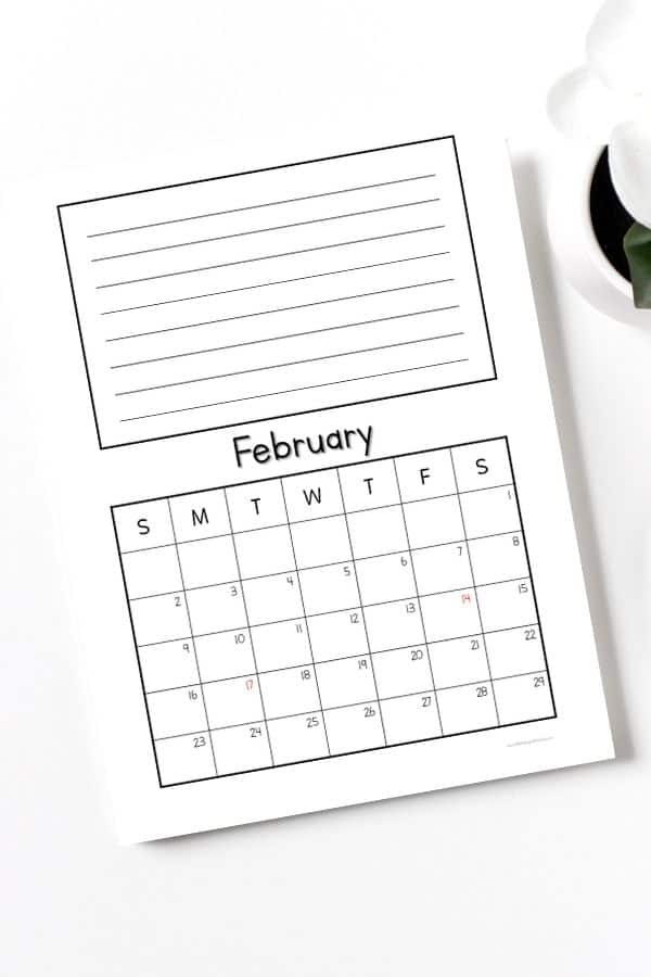 february calendar 2020 with note section printable page