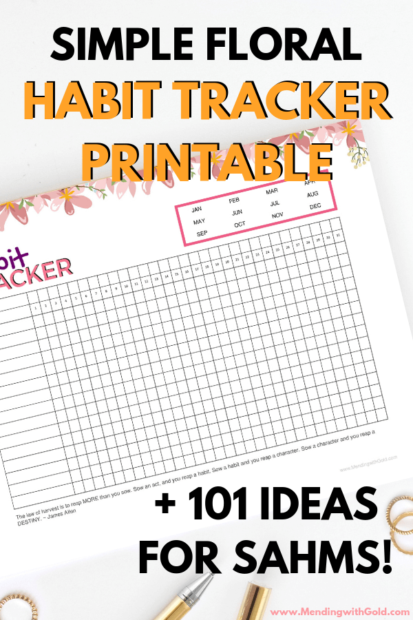 free habit tracker printable + 101 habit tracker ideas for stay at home moms