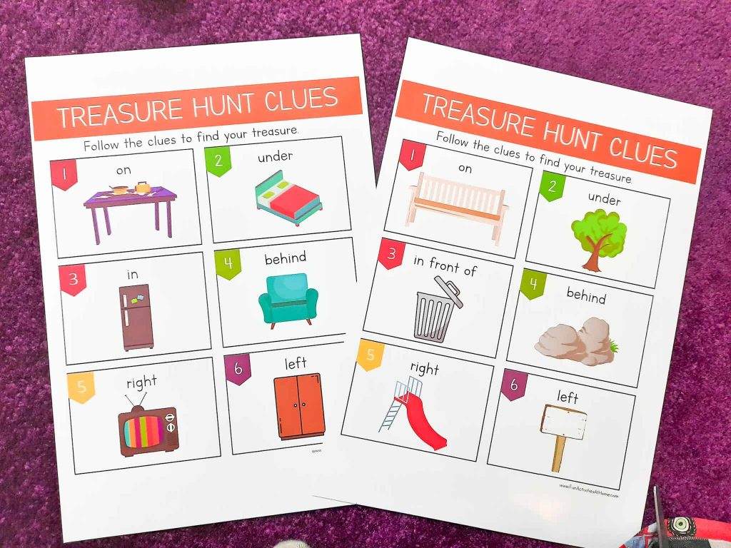indoor treasure hunt + an outdoor treasure hunt for kids