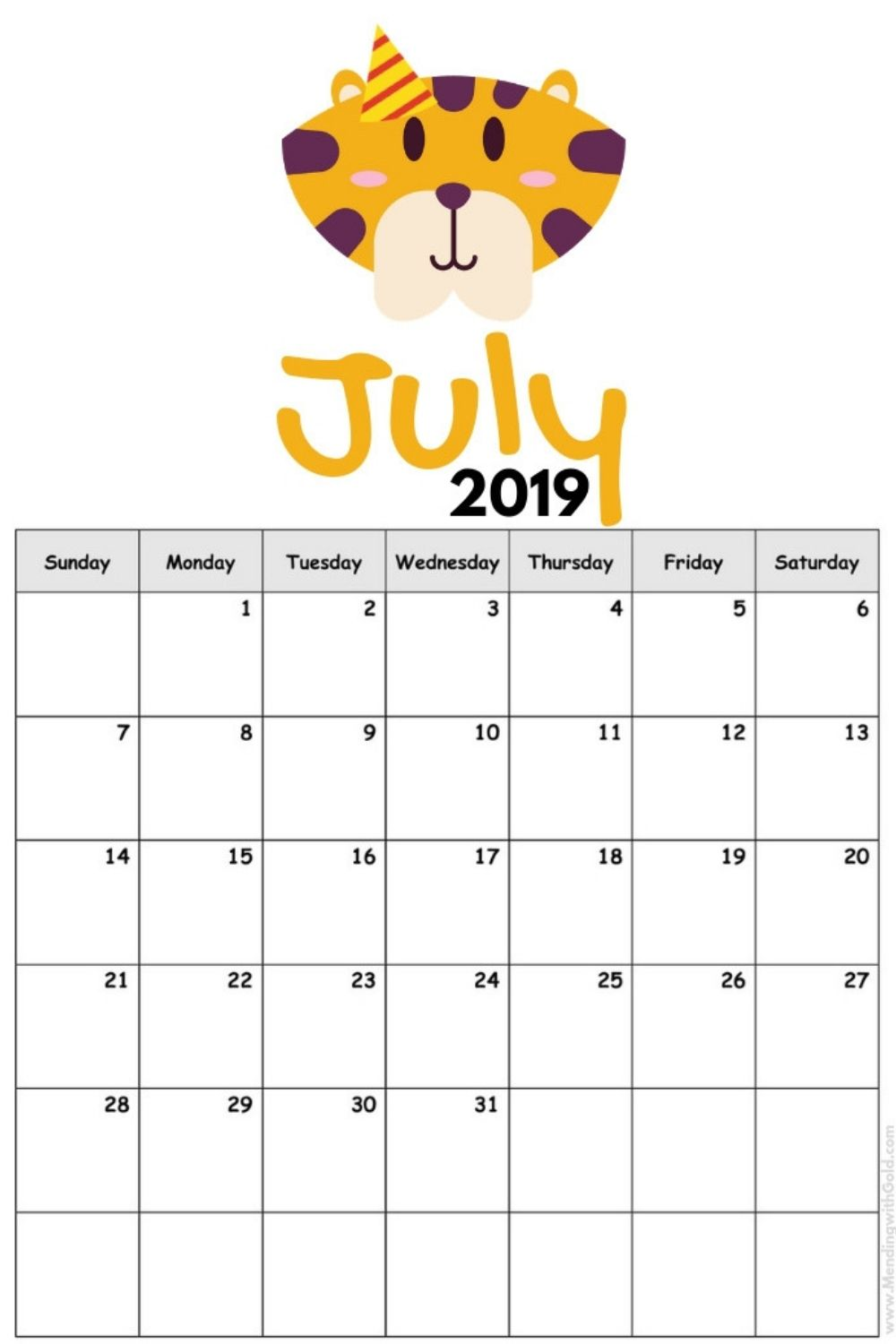 july calendar for kids 2019