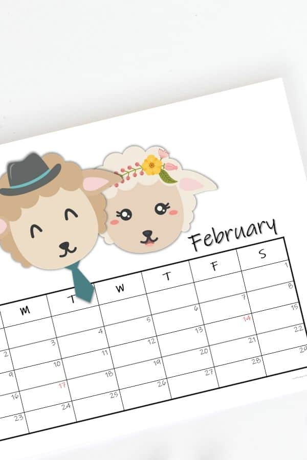landscape or horizontal calendar for kids with february 2020 events ' dates highlighted