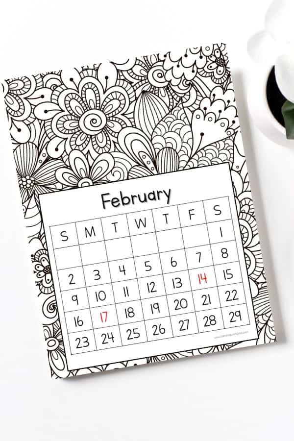 mandala art coloring calendar february page for 2020 vertical sheet