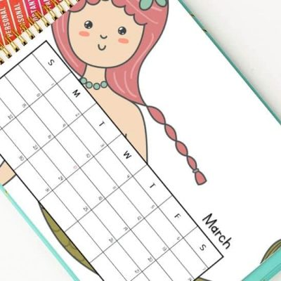 march calendar printables mermaid design