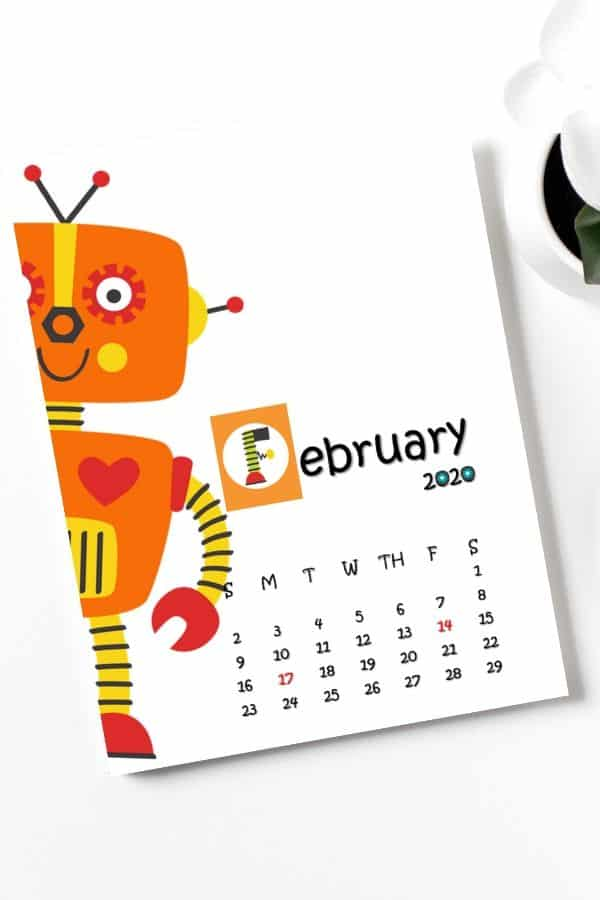 robot calendar for little whizz kids february page