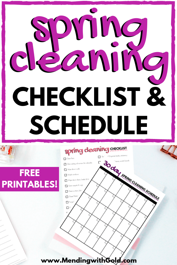 spring cleaning plan of action printable checklist and calendar schedule on table