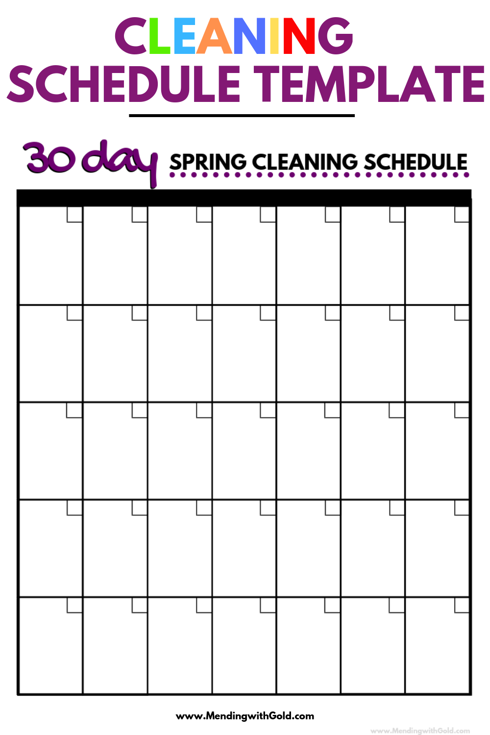 spring cleaning schedule