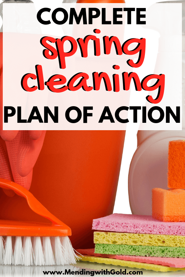 spring cleaning plan of action image with cleaning supplies