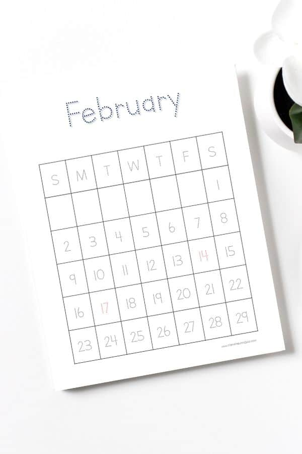 tracing february printable for kids vertical
