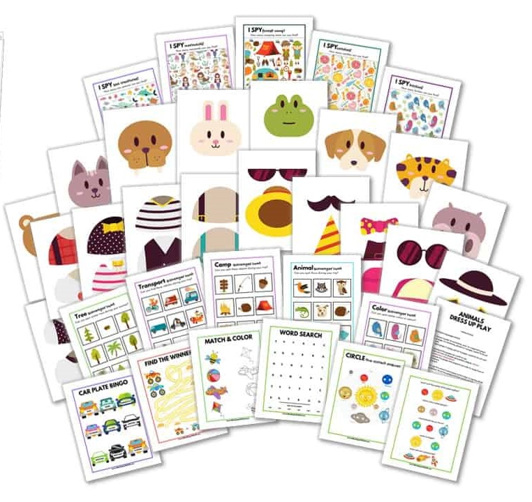 cover image for printable travel games for kids
