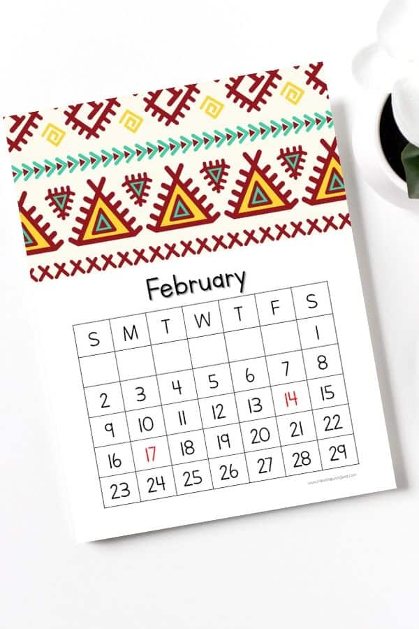 tribal patterns abstract design february calendar 2020