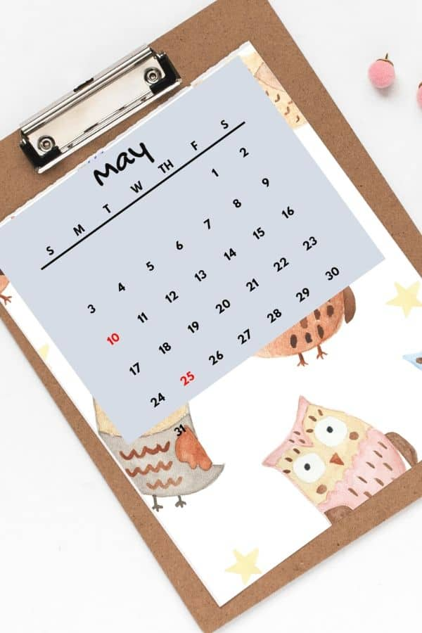 May calendars for kids