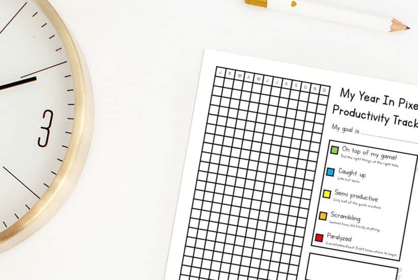 year in pixels printable productivity tracker