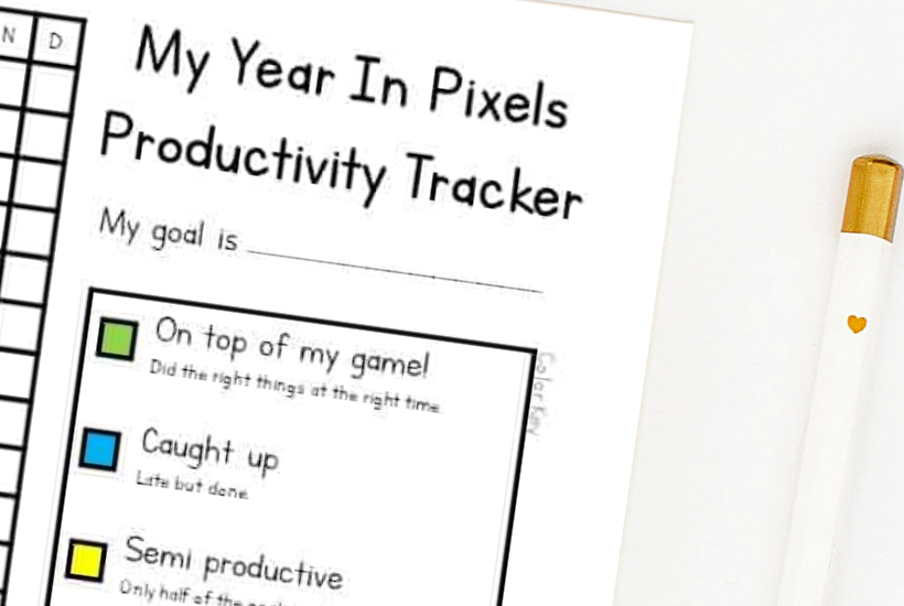 year in pixels template 2020: blank pixels printout sheet