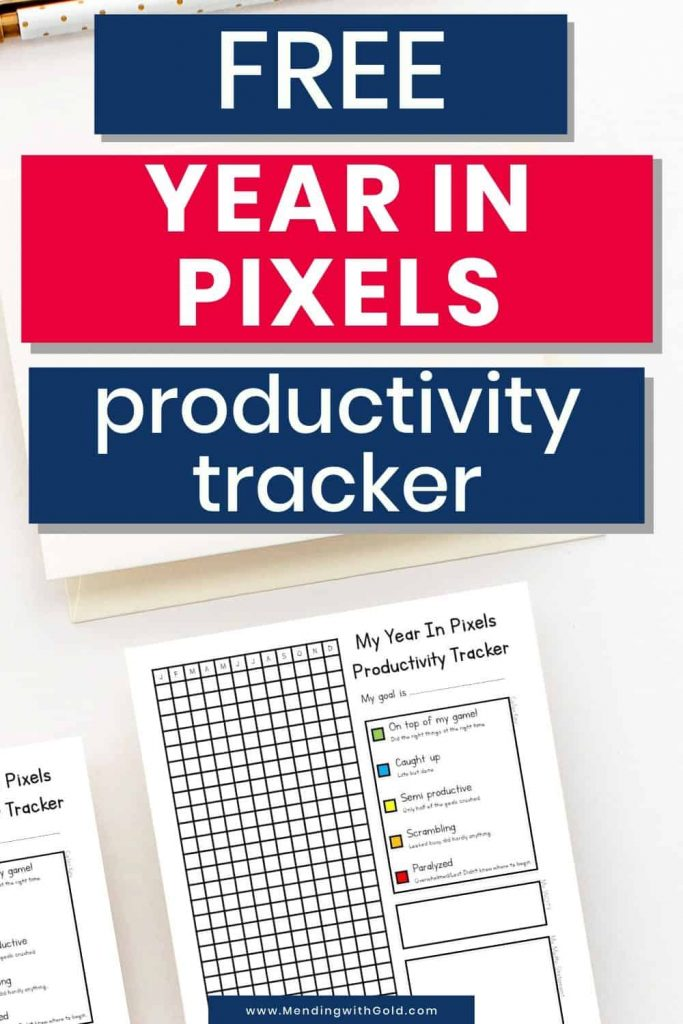 year in pixels template productivity tracker printable 2020